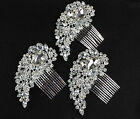 SILVER DIAMANTE CRYSTAL GEM JOB LOT BULK BUY HAIR COMB CLIP SLIDE FASCINATOR