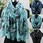 New Trendy Fashion Women's Birds Print Soft Long Scarf/Infinity 2Loop Cowl Scarf