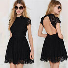 Womens Sexy Backless Spaghetti Cocktail Party Dress Black Size C0035#