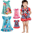 Casual Girls Kids Clothes Princess Mickey Minnie Pajamas Sleepwear Dress Outfit