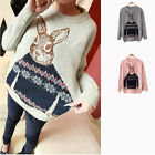 Sales Lady Knitted Animal Rabbit Print Casual Loose Pullover Sweater Outwear Top