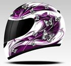 MT THUNDER BUTTERFLY  WOMENS LADIES MOTORCYCLE MOTORBIKE HELMET PURPLE PINK