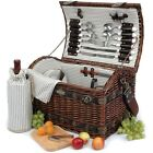 Willow Picnic Basket Set For 4 The Couture Collection 32 pcs   Brand New cheap