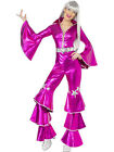 LADIES 1970'S DANCING DREAM PINK STYLE JUMPSUIT RETRO GLAM DISCO COSTUME