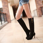 New Womens Design Fashion High Heel Zipper Knee High Boots Shoes AU Size Y1000