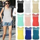 LADIES WOMENS CHIFFON LACE SLEEVELESS BLOUSE BELTED EMBROIDERED SUMMER TOP SIZE