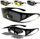 NEW BLACK SUNGLASSES POLARIZED MENS LADIES FIT OVER FLIP UP GLASSES WRAP DRIVING