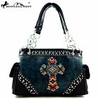 [3 COLORS] Montana West Rhinestone Aztec Cross Crocodile Western Tote Bag Purse