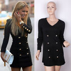 Vintage Womens Formal Bodycon Double Breasted MILITARY PENCIL Mini Party Dresses