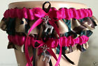 Wedding Garter Set Fuchsia and Camouflage  w/Tossing Garter & Charm
