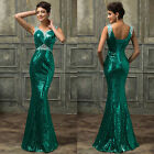 Sequins Vintage Beaded New Wedding Bridesmaid Evening Gown Party Long Prom Dress