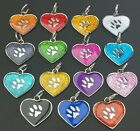 Heart Shape Glitter Engraved Pet Tags 30mm DOG CAT ID Disc Disk FREE P&P