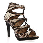NEW WOMENS FAUX SNAKE BEIGE LACE UP LADIES CUT OUT STILETTO HEEL SHOES SIZE 3-8
