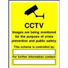 CCTV MONITORED FOR - Safety Warning Security Sign - CTV04 sticker / rigid