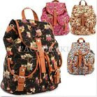 Women's Vintage Canvas Owls Cute School Satchel Rucksack Backpack Campus Bag FKS