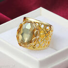 Sz 6-9 luxurious 18K Gold Filled Yellow Sapphire Women Simple Wedding Lover Ring