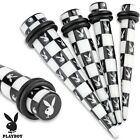 New Acrylic Novelty Playboy Bunny Chessboard Black White Ear Taper Stretcher