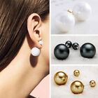 Fashion 1Pair Man Made Double Pearl Earrings Ear Studs Jewelry Gift Ladies New