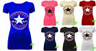 AS71 NEW WOMEN'S LADIES CONVERSE ALL STAR LOGO PRINT T SHIRT VEST TOP SIZE 8-14
