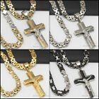 "P4 24""men stainless steel Gold Silver Black jesus cross pendant chain necklace"