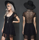 Lip Service Graveyard Lolita Goth Babydoll Mini Dress Black Lace Gothic Sexy Hot