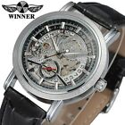 Silver Automatic Mechanical Mens Fashion Skeleton Office Date Wrist Watch