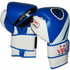 VELO Rex Leather Boxing Gloves Punch Bag MMA Fight Muay Thai Grappling Pads Blue