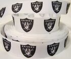 "GROSGRAIN OAKLAND RAIDERS FOOTBALL 7/8"" INCH RIBBON FOR HAIR BOWS DIY CRAFTS $7.19 USD on eBay"