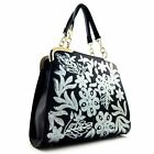 [4 COLORS] Sequin Embroidery Hardware Accent 2 Way Fashion Satchel Bag Purse