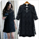 Black 2 Piece Lace Mini  Dress With Collar Size 16, 18, 20, 22