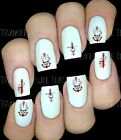 30 NAIL ART DECALS STICKERS RED SKULL TATTOO GOTH  PEEL AND STICK