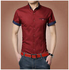 DT84 New Men's Summer Luxury Casual Slim Fit Stylish Short Sleeve Dress Shirts