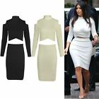 WOMENS LADIES CELEB INSPIRED CUT OUT SHORT CROP TOP MIDI BODYCON SKIRT NEW SIZE