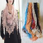 New Women's Sheer Floral Long Scarf Ladies Shawl Large Silk Scarves Tassel Wraps