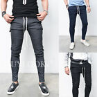 Designer Homme Mens Seaming Knee Slim Biker Jersey Gym Pants Sweatpants Guylook