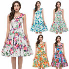 Vintage Floral 1950s Pinup Jive Rockabilly Housewife Swing Party Prom Dress PLUS