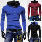New Mens Slim Thin Hoodie Hooded Jumper Pullover Basic Blank Plain Casual Sports