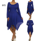 D72 New Ladies Blue Long Sleeves Cocktail Wedding Sping Party Evening Dress Plus