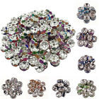 New 50/100Pcs Glass Silver Plated Spacer Loose Beads Charms Jewelry Findings 8mm