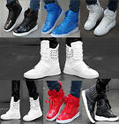 NEW MENS PATENT FLAT LACE UP SNEAKERS HIGH-TOP Rivet TRAINERS SHOES Ankle boots