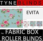 The FABRIC BOX - EVITA made to measure ROLLER BLINDS - straight edge rose floral