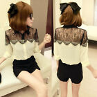 Womens Vintage Long Sleeve Button Lace Chiffon Splicing T Shirt Tops Blouses New