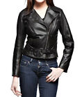 Women Leather Designer Jacket Black with waist belt Sz XS-3XL