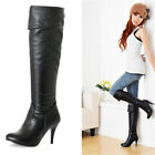 Women's Synthetic Leather High Heel Shoes Over Knee Boots B005 US Size 4-10.5