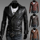 Fashion Mens Casual Coats Slim Fit Motorcycle Sexy PU Leather Short Biker Jacket