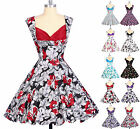 Rockabilly Vintage Style Hawaii Floral 1950'S Swing Pinup Dance Party PROM Dress