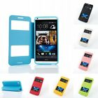 Flip-PU-Leather-View-Dual-Window-Stand-Case-Cover-For  HTC Desire 500 820 M8  M9
