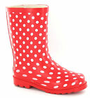 GIRLS RED & WHITE POLKA DOTS SLIP ON WELLINGTON/WELLIES BOOTS -X1118