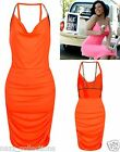 ORANGE CUT OUT OPENBACK COWL NECK SLINKY MIDI PARTY SUMMER DAY EVENING DRESS SML