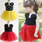 1-6Y Minnie Mouse Baby Kid Girls Princess Clothes Cartoon Party Skirt Mini Dress